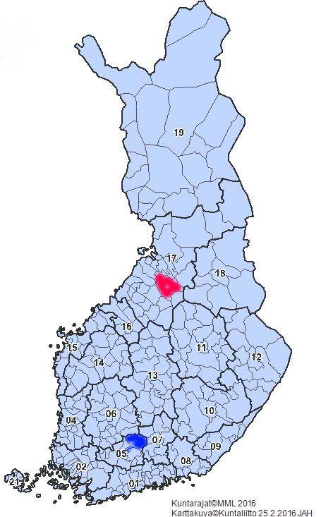 Suomen maakuntajako. Maantieteellinen keskipiste (punainen) ja väestön painopiste (sininen)